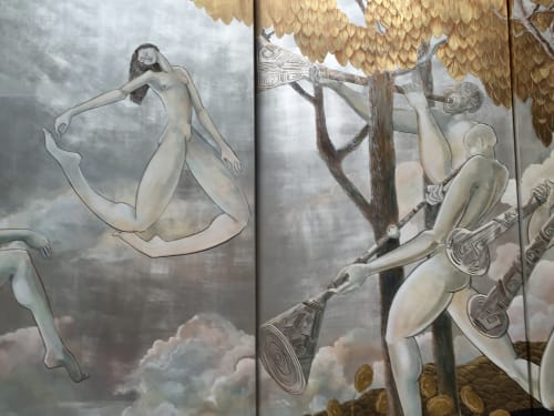 Paintings by Kaveri Singh seen at Private Residence, Fisher Island - Decorative Screen