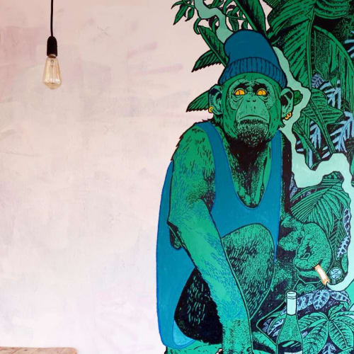 Murals by Will de Villiers seen at Tina, We Salute You N1, London - Giant Green Monkey