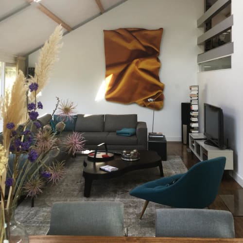 "Wall Hangings by Celia Hadeler seen at Private Residence, The Hague - ""Yellow Ocher"""