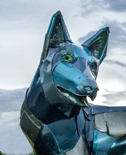 "Public Sculptures by Don Kennell seen at Santa Fe Railyard Park, Santa Fe - ""Green Coyote"""