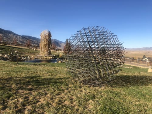 Public Sculptures by Philip Vaughan seen at Buffalo Creek Art Center, Gardnerville - Atom Rebar Sphere