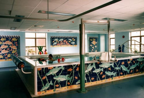 Tiles by Reptile Tiles seen at Royal Devon & Exeter Hospital, Exeter - Hydrotherapy Fish and Dolphin tiles.