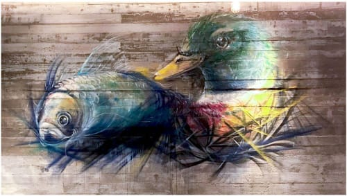 Murals by Elsa Jeandedieu Studio at The Pond - Duck and Fish