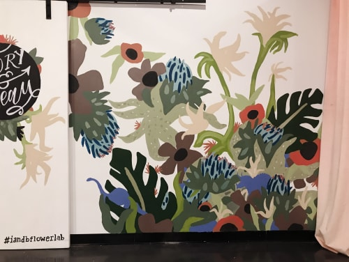 Murals by The Small Creative seen at Ivory & Beau, Savannah - Floral Jungle Mural for Ivory and Beau