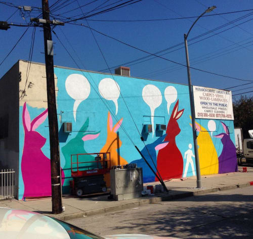 Street Murals by Max Neutra seen at 3021 W Temple St, Los Angeles - 30 ft Wall Mural