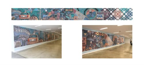 """Murals by Mitchell Egly seen at Chicago Sun-Times, Chicago - """"Stepping into tomorrow"""""""