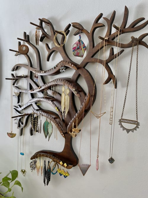 Art & Wall Decor by Lauren Mollica Woodworking seen at Creator's Studio, Norwalk - Wall Mounted Jewelry Display Organizer