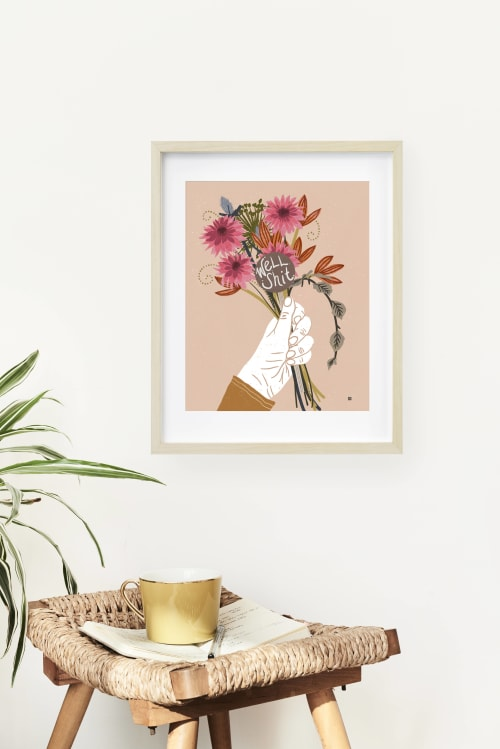Paintings by Birdsong Prints seen at Creator's Studio, Denver - Modern Bohemian Bouquet Print