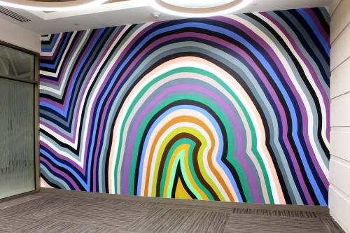 Murals by Clint Fulkerson seen at Texas State University Round Rock Campus, Round Rock - Polychrome Strata Mural