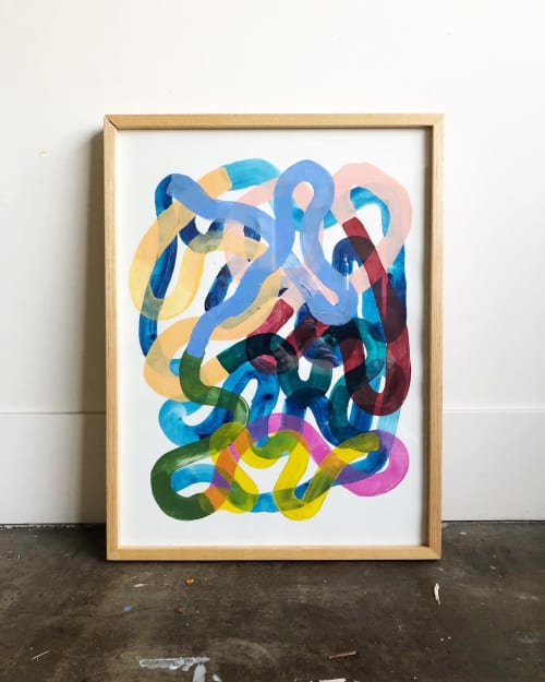 Paintings by maja dlugolecki - colorful swirls inspired by residency at LOOT mx in zihua