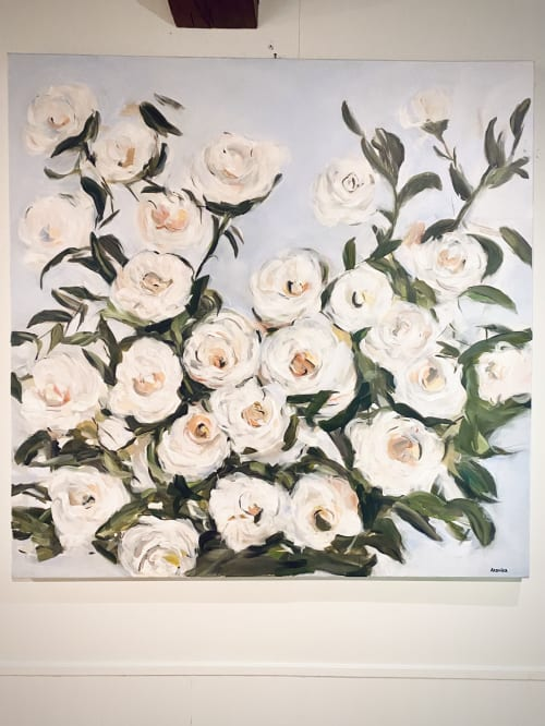 Paintings by Arohika Verma seen at Waterfall Lodge, Ben Lomond - White Roses Painting in Mixed Media on Canvas