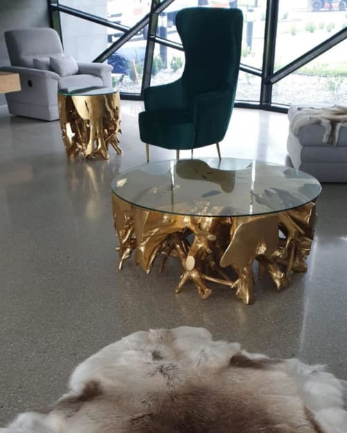 Tables by Cocolea Furniture seen at Private Residence, Perth - Gold Teak Root Round Coffee Table
