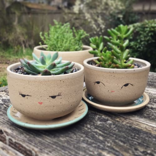 Vases & Vessels by Jennifer Fujimoto seen at Private Residence, Seattle - Ceramic Planters with Faces