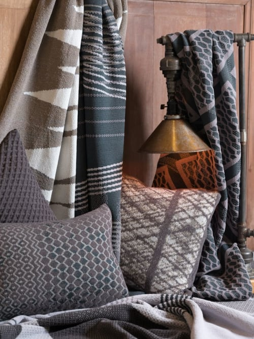 Linens & Bedding by Studio Twist seen at Private Residence, New York - Knitted Throws and Pillows in Polypropylene & Polyplush - Casting Shadows