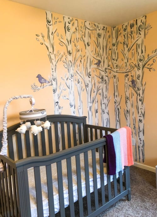 Murals by Rachel Elizabeth Design seen at Private Residence, Lebanon - Birch Tree Nursery Mural