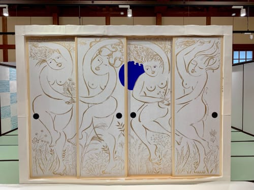 Murals by aiMIKI seen at Paper & Culture Museum, Echizen - Chisuikafu (the goddesses of 4 elements)