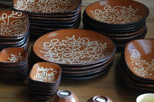 Ceramic Plates by Yoji Yamada seen at Private Residence - Japanese red slipware