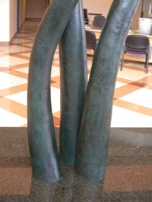 Sculptures by Jim Sardonis seen at University of Maine, Orono - Fiddlehead Bench
