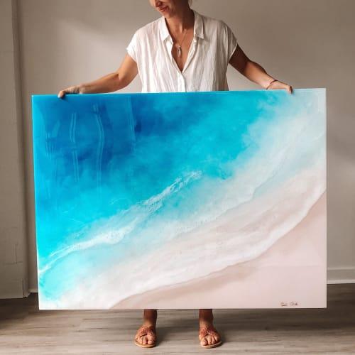 Paintings by Sarah Caudle seen at Creator's Studio, Honolulu - Original Ocean Resin Painting