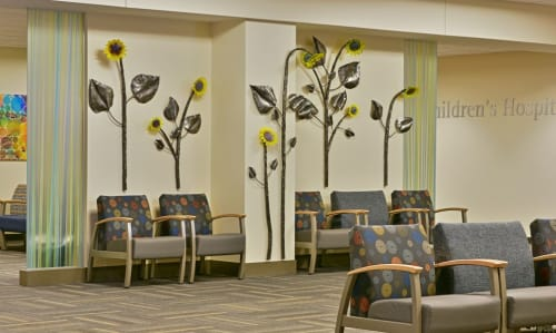 Public Sculptures by Chris Nordin Studios seen at U Of M 23 Hour Hospital, Brighton - Sunflower Wall