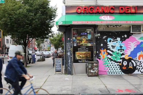 Street Murals by Brolga seen at Organic Deli Gl, Brooklyn - Graham Avenue Mural