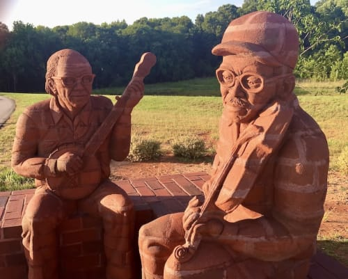 "Public Sculptures by Brad Spencer seen at Mebane Community Park, Mebane - ""Knee to Knee"""