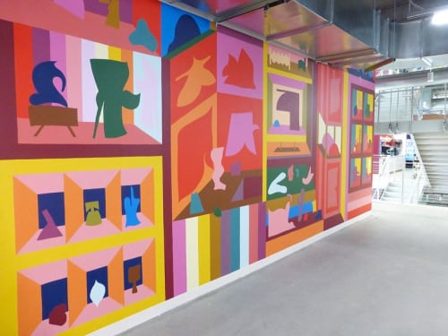Murals by Brian Sanchez seen at Facebook Dexter, Seattle - Vibrant Environment