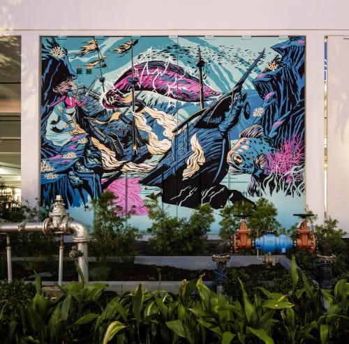 Murals by The Draculas seen at 2ND & PCH, Long Beach - USS Draculas