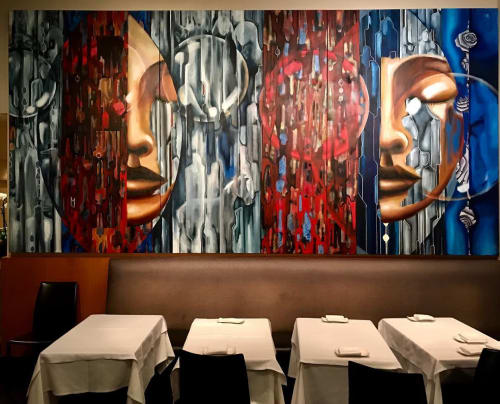 Paintings by Gus Harper seen at Il Moro Restaurant, Los Angeles - Revive
