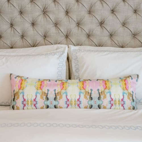 Pillows by Laura Park Designs seen at Private Residence, Fargo - Brooks Avenue Navy Bolster