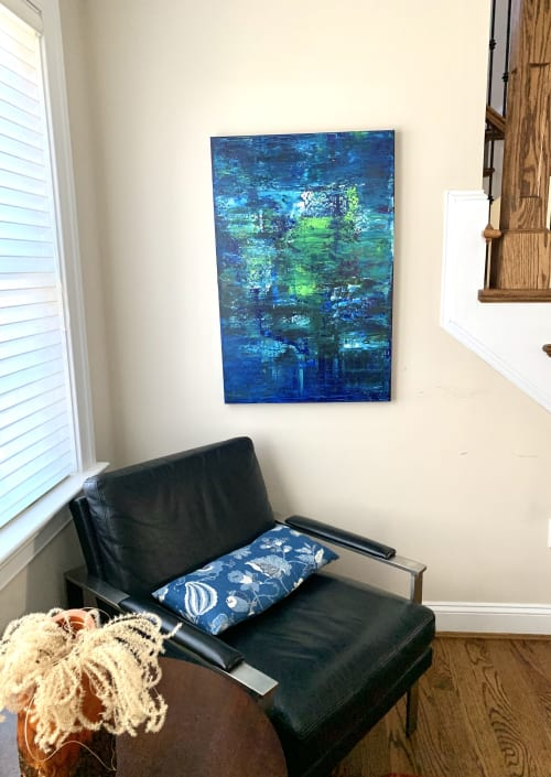 Paintings by Maria-Victoria Checa Art seen at Private Residence, Chevy Chase - Le Grand Bleu