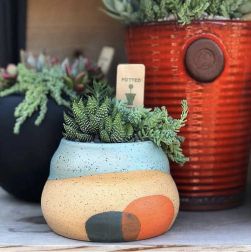 Vases & Vessels by Mineral Ceramics seen at Potted, Los Angeles - Gourd Planter, Robin's Egg Blue