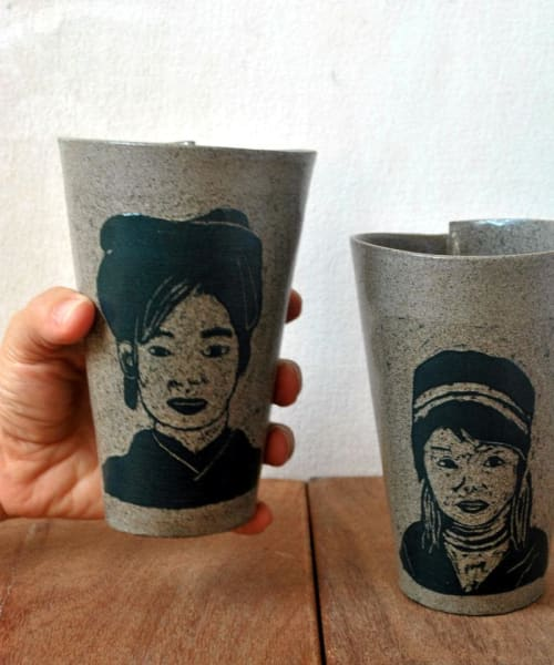 Gray Ceramic Coffee Mug Japanese Girl Portrait Tumbler | Cups by ShellyClayspot