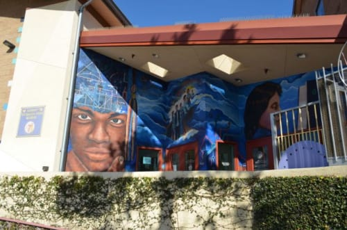 Murals by Michael Massenburg seen at Youth Opportunities Unlimited Alternative High School, Los Angeles - Educate to Elevate