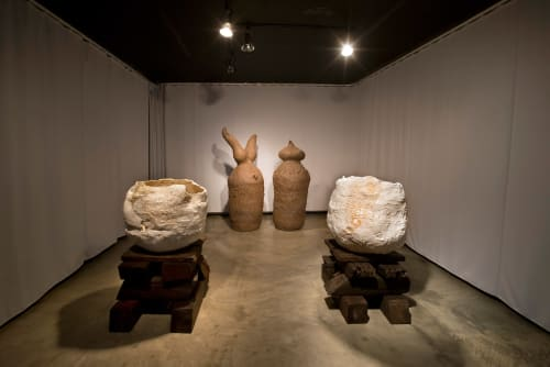 Sculptures by Galia Linn seen at Shulamit Nazarian, Los Angeles, Los Angeles - Ancient Vessels of the Divine, 2012  Inside Garden Vessels I, II