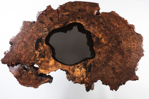Tables by Lumberlust Designs seen at Private Residence in Kansas City, KS, Kansas City - Claro Walnut Burl Ring on Lucite Coffee Table