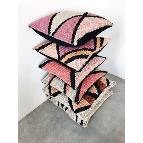 Pillows by TANU handwoven textiles at Private Residence, Santa Fe - ><