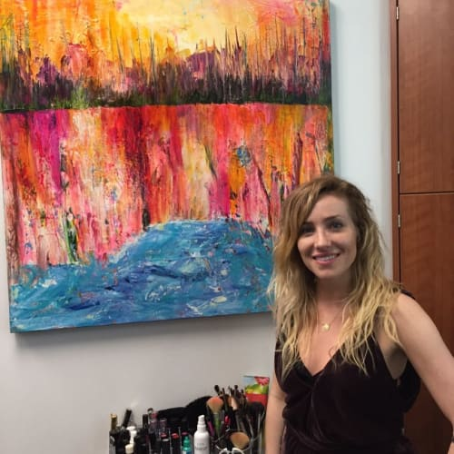 Paintings by Rina Patel seen at Bliss Yoga Studios, Monroe - Red and Blue Abstract Painting