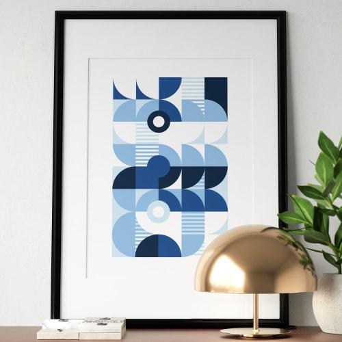 Art & Wall Decor by Michael Grace & Co seen at Seattle, WA, Seattle - Monochromatic Machine in Blue Art Print