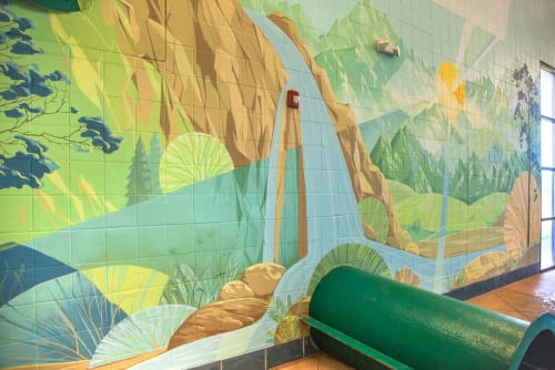Murals by Yulia Avgustinovich seen at Lakewood, Lakewood - Lakewood Link Recreation Center Swimming pool Mural