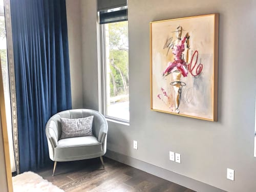 """Paintings by Ash Almonte seen at Private Residence, West Lake Hills - Figurative - mixed media, acrylic, resin gold frame 36""""x4"""