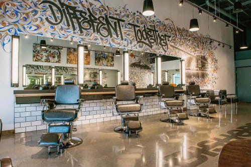 Murals by Leo Shallat seen at Bishops Barbershop - Hair Salon, Happy Valley - Different Together