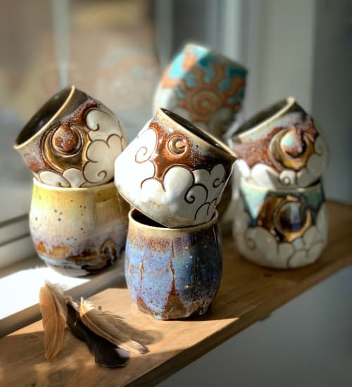Cups by Ashley Lauren Ceramics seen at Private Residence, Somis - Hand Carved Mugs