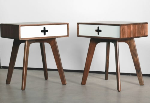Furniture by Max Moody Design seen at Private Residence, Chattanooga - Nightstand Plus - Mid Century Modern Walnut Nightstand