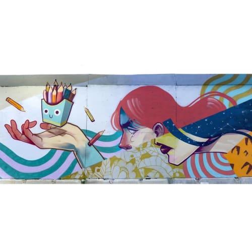 Street Murals by Isaac Malakkai seen at Bohrsgade 35, København - Mural
