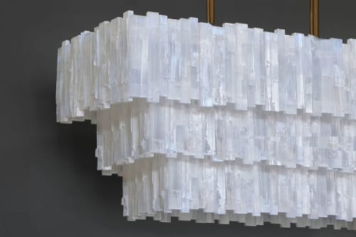 Chandeliers by Ron Dier Design seen at Private Residence, Nichols Hills - 3 Tier Rectangle Selenite Chandelier