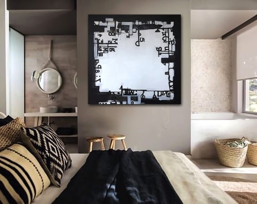Paintings by Linnea Heide contemporary fine art seen at Private Residence - 'TYPOGRAFiKA' original abstract painting by Linnea Heide