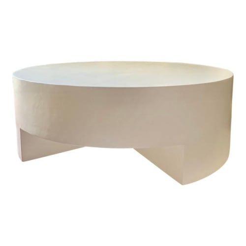 Tables by Oken House Studios seen at Private Residence - Mid-Century Modern the Reed Round Smooth Plaster Chunky Coffee Table