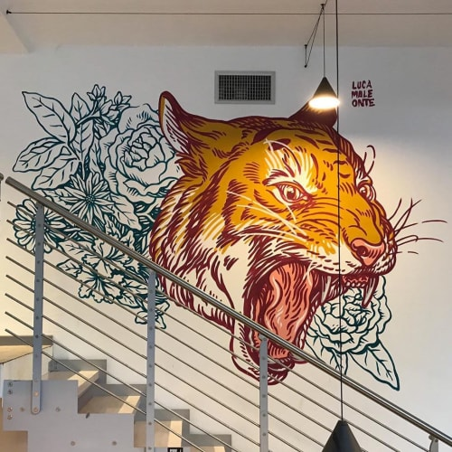 Murals by Luca Maleonte seen at One Shot Agency, Milano - Tiger Mural