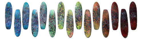 Wall Hangings by Renee DeCarlo seen at CPMC Van Ness Campus, San Francisco - Skateboards: NEW